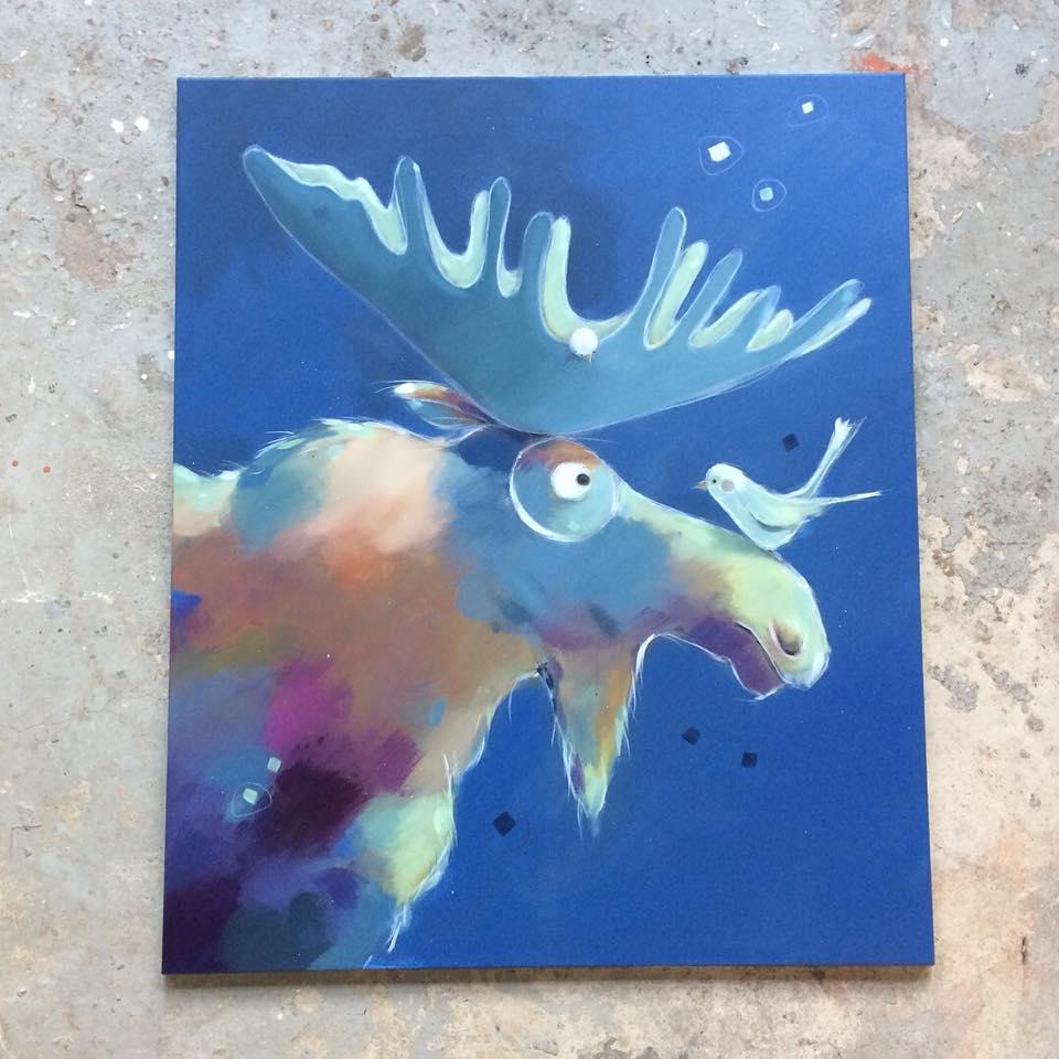 Maleri af elg af kunstner Tine Faurholdt